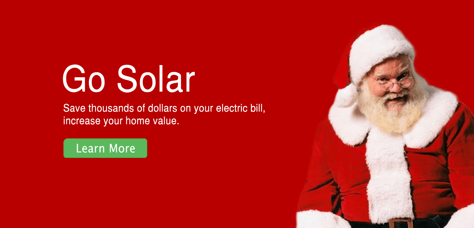 Banner with Santa Claus  - Solar Energy Provider, California